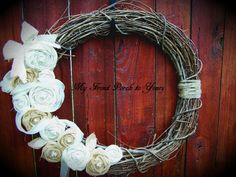 Beautiful Vintage Burlap Wreath by Myfrontporchtoyours on Etsy, $40.00