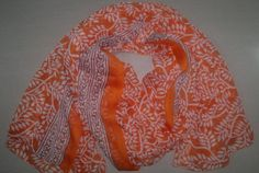 10% OFF for Pinners, Coupon Code 'PIN10'. Long Scarf Indian Sari Scarf Orange and White Scarf by relaxopping