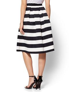 Pleated Full Skirt - Stripe - New York & Company