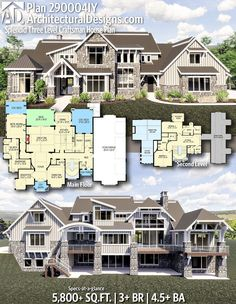 floor plan ok; need bedroom on main floor; sitting area in master; dont like the roofline Architectural Designs Home Plan gives you 3 bedrooms, baths and sq. Sims House Plans, Dream House Plans, House Floor Plans, Design Floor Plans, Large House Plans, Luxury Floor Plans, The Plan, How To Plan, Sitting Area