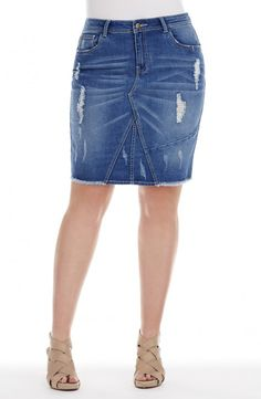 """Knee Length """"rip"""" Denim Skirt Style No: Stretch Denim Skirt. This Knee Length Skirt has subtle """"rips"""" on the front and also on the back pockets. It features a front seam detail. This skirt has a zip and single button closure at the waist. Ripped Denim Skirts, Stretch Denim Skirt, Plus Size Skirts, Diva, Closure, Pockets, Button, Detail, Style"""