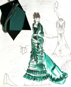 "Costume illustration for ""Alma Garret"" (Molly Parker) from 'Deadwood' 2004-2006 Design by Katherine Jane Bryant."