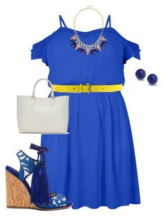 """my plus size summer blue styles2"" by kristie-payne ❤ liked on Polyvore featuring New Look, Paul Andrew, Jil Sander Navy, ShoeDazzle, Stella & Dot and Bling Jewelry"