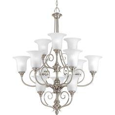 $850 - Progress Lighting Kensington Collection 12-Light Brushed Nickel Chandelier-P4314-09 at The Home Depot