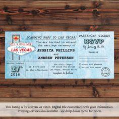 Items similar to Passenger Ticket Las Vegas Wedding Invitation Print or Digital (Item on Etsy School Fundraisers, Las Vegas Weddings, You Are Invited, Wedding Invitation Design, Wedding Themes, Fundraising, Ticket, Rsvp, Custom Design