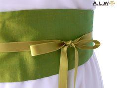 Seidengürtel in leuchtenden grün von alw-design auf DaWanda.com