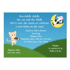 Nursery Rhyme Baby Shower Invitation Words: Hey Diddle Diddle, The Cat And  The Fiddle
