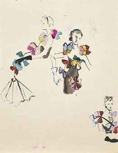 CHRISTIAN BÉRARD * (1902-1949) Croquis de mode signé 'Bérard' (en bas à gauche) aquarelle, encre et gouache sur papier