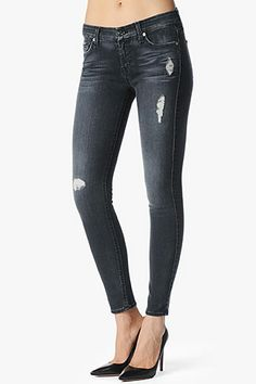 7 For All Mankind, The Slim Illusion Skinny in Blue Black Destroyed (29' Inseam), siblubkdst, Womens : Denim : Skinny & Leggings, AU0368213A