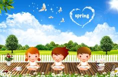 Spring backgrounds PSD cartoon children materials | The creative concepts PSD material