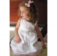 Monogrammed  Cotton Pique Dress White With Light Pink Trim