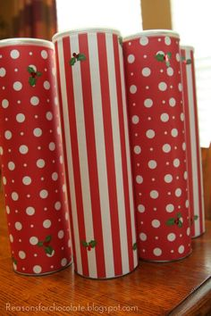 Christmas Cookies in a pringles can, covered with Wrapping Paper, perfect gift for teachers.