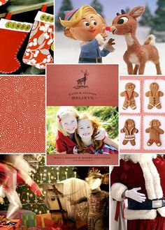 Minted holiday card inspiration board- We believe this holiday, with Rudolph, stockings, gingerbread, and Santa to help get us in the spirit