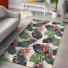 heliconia flowers, palm and monstera leaves Rug – Braided Rugs Trendy Colors, Vivid Colors, Tropical Rugs, Braided Rugs, Garden Projects, Pottery Barn, Animal Print Rug, Palm, Home And Garden