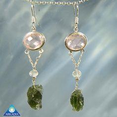 Faceted Rose Quartz Aquamarine & Moldavite by ArkadianCollection