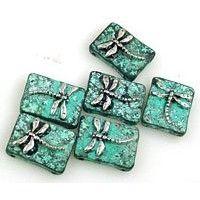 6 patina firefly 2 hole slider beads 11219