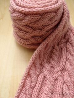 Dusty Rose cable scarf