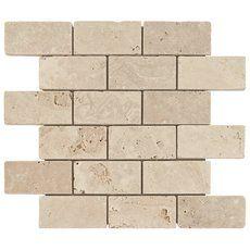 Crema Antiqua Brick Travertine Mosaic - 12in. x 12in. - 932100545   Floor and Decor