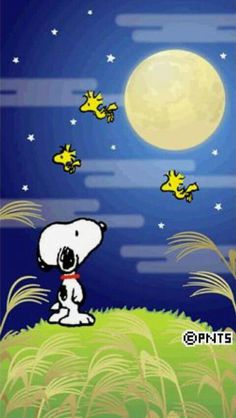 ✔ Good Night!  (no words)   --Peanuts Gang/Snoopy, Woodstock, & Woodstock's pals