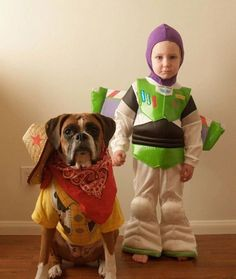 40+ Cute Dog Halloween Costumes: Toy Story Halloween Costume | If you're looking for the best dog Halloween costumes, such as dog Halloween costumes DIY, DIY Halloween costumes for dogs and owners, big dog Halloween costumes with owner, this is for you! If you want easy Halloween costumes for dogs funny, check out these cute Halloween costumes for dogs and funny dog costumes halloween! #doghalloweencostumes #halloweencostumesfordogs #halloweencostumes #dogs #dogcostumes #dogcostumeshalloween Big Dog Halloween Costumes, Baby Halloween Costumes For Boys, Kid Halloween, Halloween Pictures, Boxer Halloween, Maternity Halloween, Halloween Cosplay, Halloween Outfits, Toy Story Costumes