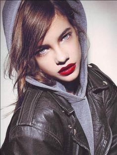 barbara palvin. hoodie. leather. red lipstick