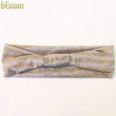 Glitter stripe head wrap  grey gray and gold by Bloombyhaleyanne