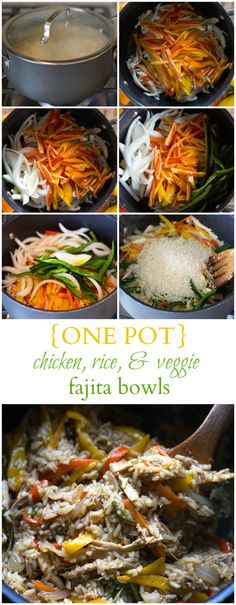 One Pot Chicken & Rice Fajita Bowls are delicious and filling, and will be ready in 30 minutes! @chelsealords #HyVeePinToWin