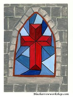 Stained Glass Cross set on Stone Wall ACEO original acrylic painting. $7.85, via Etsy.