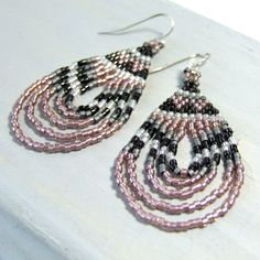 Rose Pink and Black Geometric Seed Bead Boho Earrings - product images  of