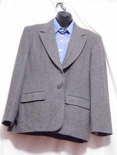 Pendleton Women's Gray Wool 2 button Fully Lined Blazer Size 14 #Pendleton #Blazer