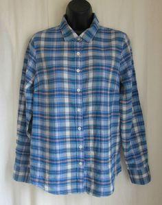 J CREW Perfect Women's Plaid Button Front Multi-Color Long Sleeve Shirt Size 6 #JCrew #ButtonFrontShirt #Casual