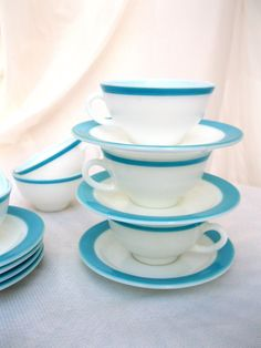 vintage aqua cups/saucers.7.fire king.pyrex.midcentury.tessiemay