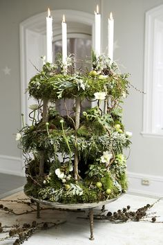 tiered wreath and candle centerpiece