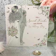 to Special Friends on Your Wedding Day - Handfinished Wedding Card with Crystals Office Branding, Special Friends, On Your Wedding Day, Contemporary Style, Just Love, Wedding Cards, Fonts, Sparkle, Pastel