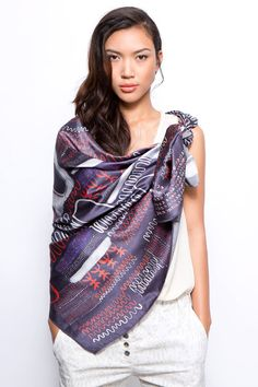 A luxurious silk scarf, printed with Dikla Levskys original pattern, inspired by Asian and African motifs. This oversized scarf has a beautiful