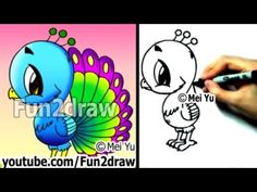 Fun2draw - How to Draw a Cartoon Peacock