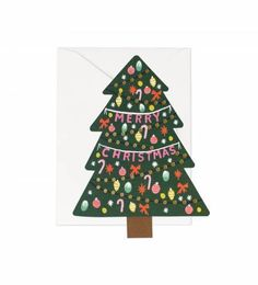 Rifle Paper Co. - Christmas Tree - Available As A Single Die Cut Flat Note Or Boxed Set Of 8
