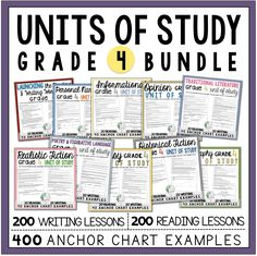 10 month-long units of study for both the reading and writing workshops