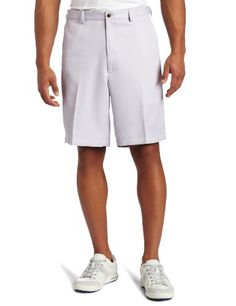 Haggar Men's Cool 18 Solid Gabardine Expandable Waistband Plain Front Shorts