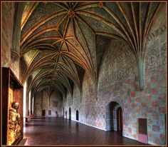 Perfect inspiration for the corridors of Castle Ember.    Gothic castle in Lidzbark Warminski, Poland by JerzyW, via Flickr