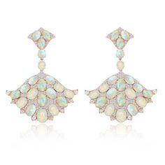 Sutra fan-style opal earrings with diamonds in rose gold.
