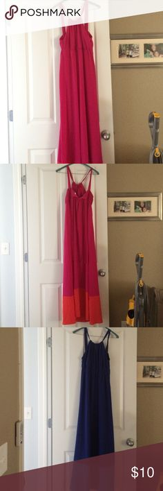 Old navy maxi dresses/ maternity summer dress I wore these while pregnant and they are nice and light for the hot summer months. They are color blocked at the bottom blue/light blue and pink/orange and a halter top design. I'm 5'3 and these skim the floor but great with a small wedge sandal. If you are on the taller side these may not work or at least won't be maxi length. Includes both dresses Old Navy Dresses