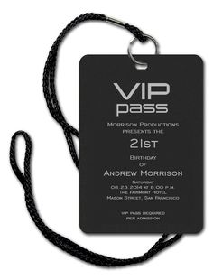 VIP Pass - Corporate Invitations by Invitation Consultants. (Item # CB-SBF-DLD-B )