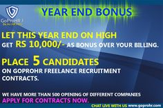 Now source contracts based on your industry based recruitment skills and not only location. Be the master of the price you want to deliver with our bidding tool. Build your HR Brand based on your client reviews, ratings, and performance on GoProHR. Now create a list of top 10 candidates of a particular industry & function and put it for sale and ask for bids. Get complete HR support if you are finding any difficulty in delivering any contract.