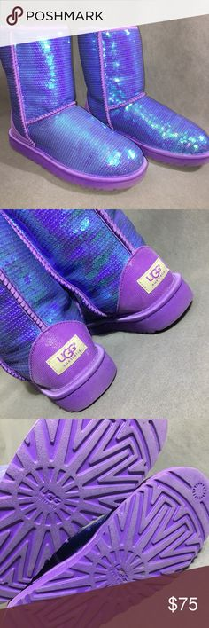 Iridescent Purple Classic Short Ugg Boot Worn once ! Purchased in Paris ! In PERFECT condition ! UGG Shoes Winter & Rain Boots