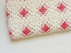 Eco Baby Crocheted Blanket Pink and Cream Organic by aclementina