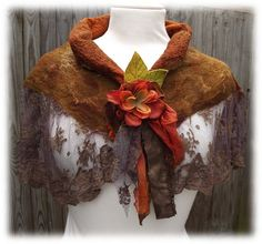 Flower Lace Shawl - wrap - shawlette - lace scarf - flower scarf - nuno felted shawl