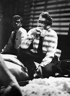 """James Dean and Jack Simmons on the set of the tv drama """"The Dark, Dark Hours"""", 1954."""