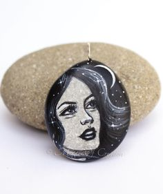 #Original #stone #art #pendant: smiling girl #portrait, crescent #moon, and the #starry night sky, hand painted. Black and gray art #jewelry for her
