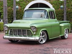 Check out this 1956 Chevrolet big window truck that features a ZZ4 350 engine. Read more only at www.customclassictrucks.com, the official website for Custom Classic Trucks Magazine!